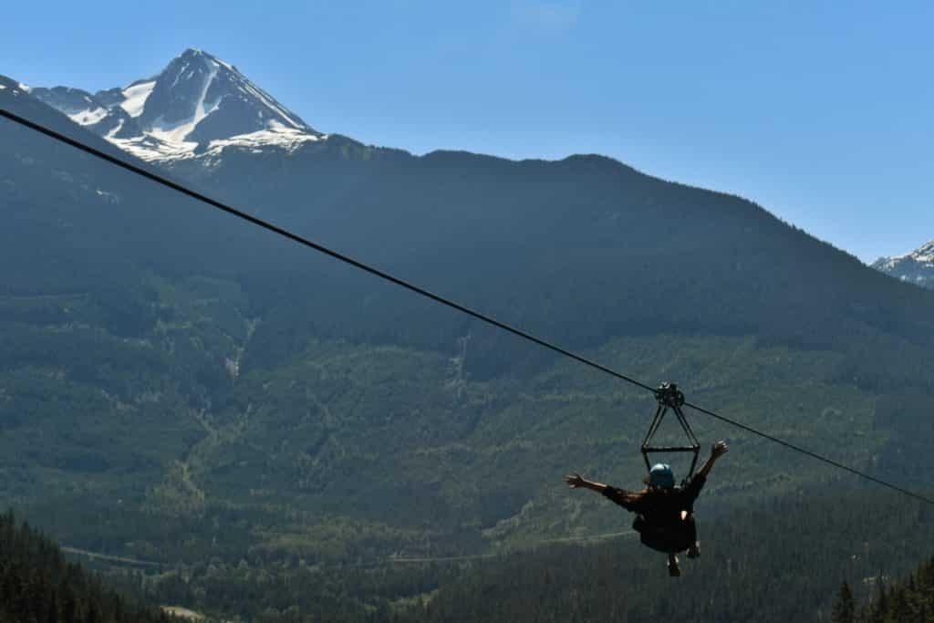 Tirolesa em Whistler. Foto: Virginia Falanghe