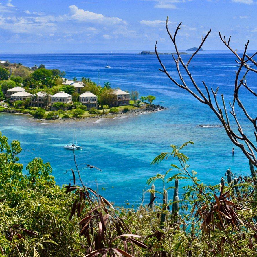 vista da trilha até salomon bay nas Ilhas Virgens Americanas ou U.S. Virgin Island