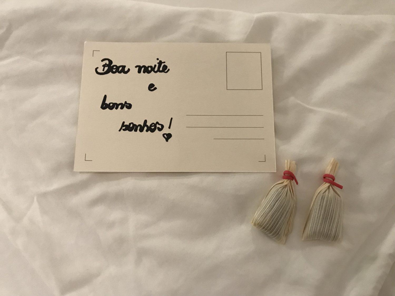 Cartão de boa noite no Hotel Vila da Santa em Buzios