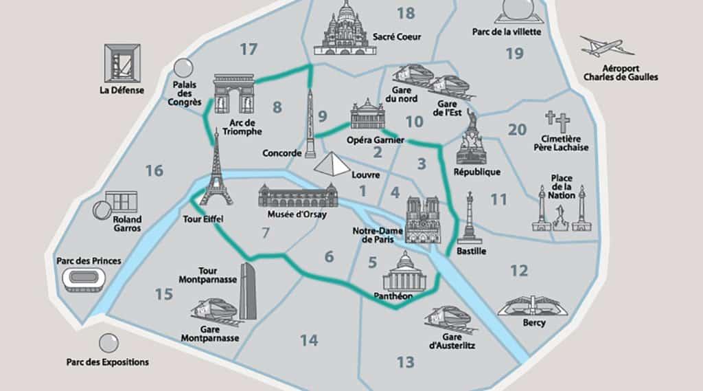 Mapa de bairros em Paris