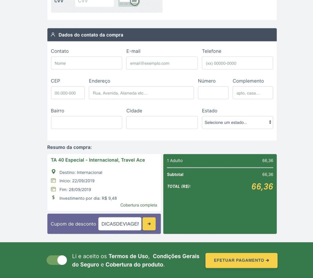 Clique em efetuar pagamento para finalizar a compra do seu seguro viagem