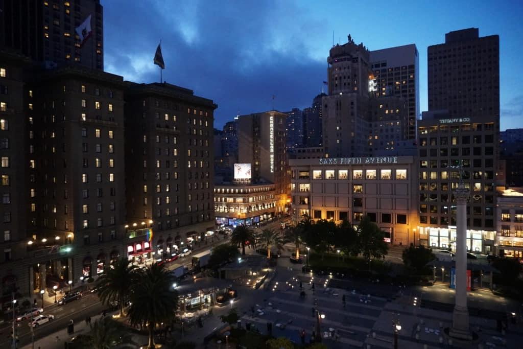Vista da Union Square, uma das opções de bairro onde ficar em San Francisco