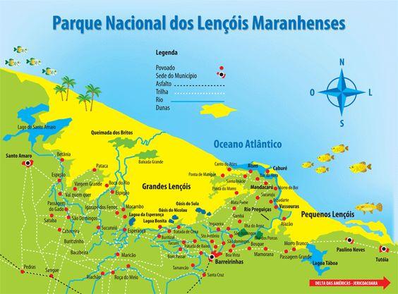 Mapa do Parque Nacional dos Lençóis Maranhenses