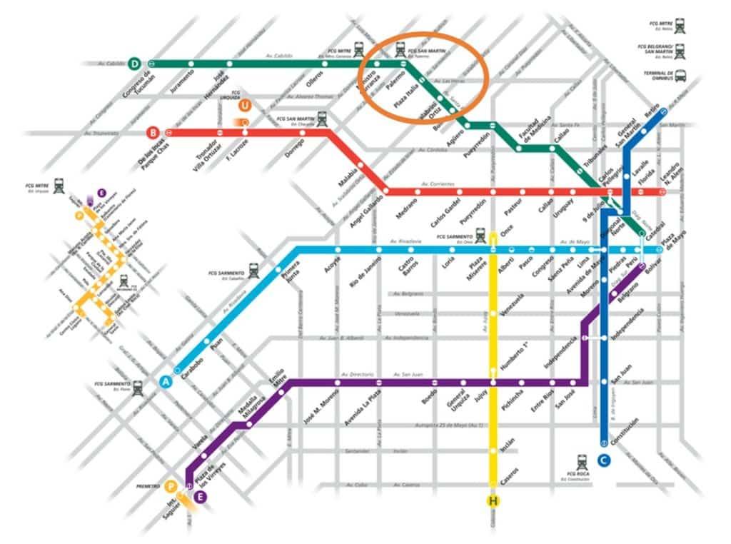 Mapa do Metro de Buenos Aires - Para chegar a Palermo utilize a linha D (verde)
