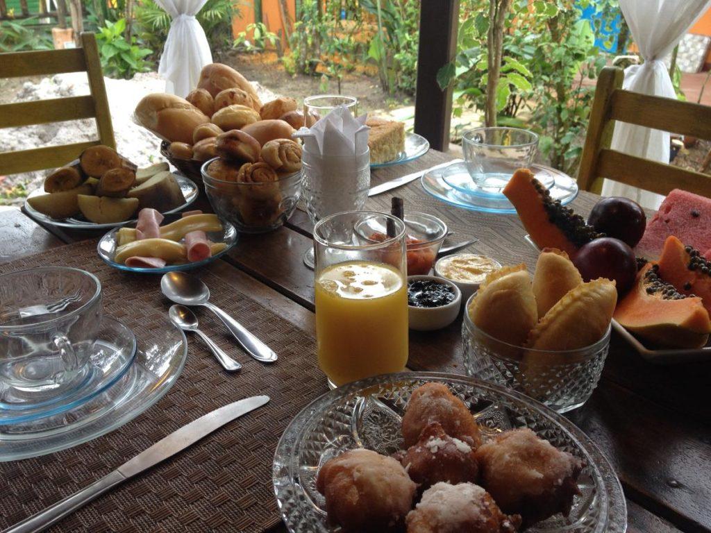 Café da manha na Pousada Sossego em Boipeba