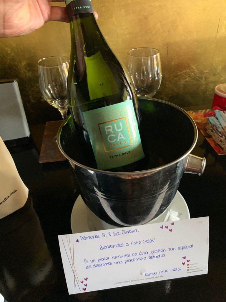 Na foto vemos um vinho Ruca Malen em balde, duas taças ao fundo, e na frente uma cartinha de boas-vindas. Foto: Bruno Tavares