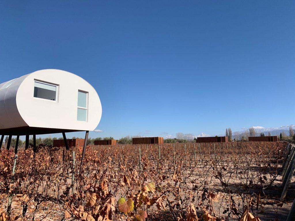 Na foto vemos parte do quarto suspenso do Entre Cielos, sobre os vinhedos do hotel, em paisagem outonal. Foto: Bruno Tavares