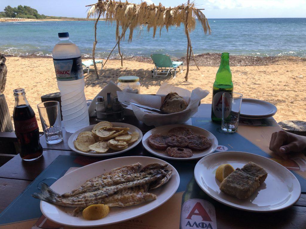 Vista da Vatsa Bay no Restaurante Spiaggia