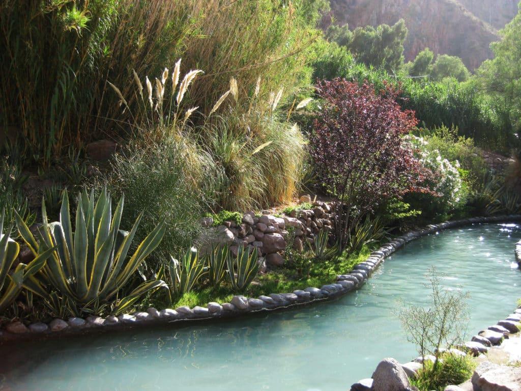 Vista de piscina natural com vegetação nas Termas da Cacheuta. Foto de Leandro Martínez via Flickr.