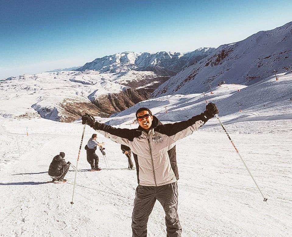 Bruno Tavares em pista de esqui do Valle Nevado Ski Resort. Foto: Bruno Tavares