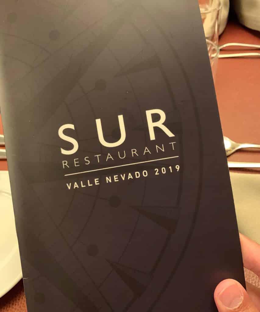 Cardápio do restaurante Sur. Foto de Bruno Tavares