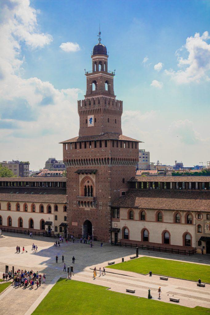 O Castello Sforzesco visto de cima