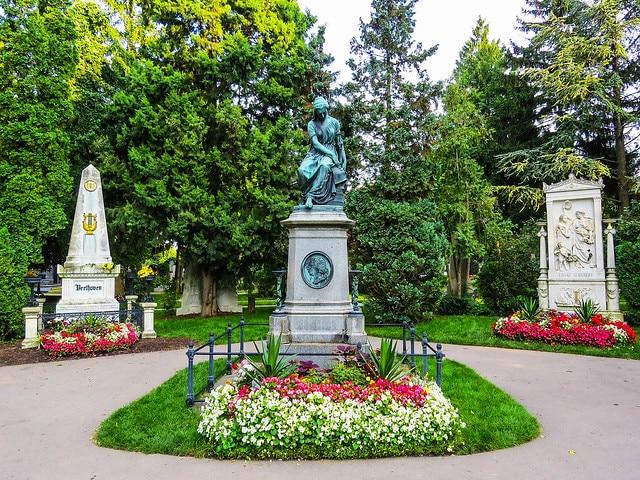 A sepultura de Beethoven e Schubert no Cemitério Central de Viena