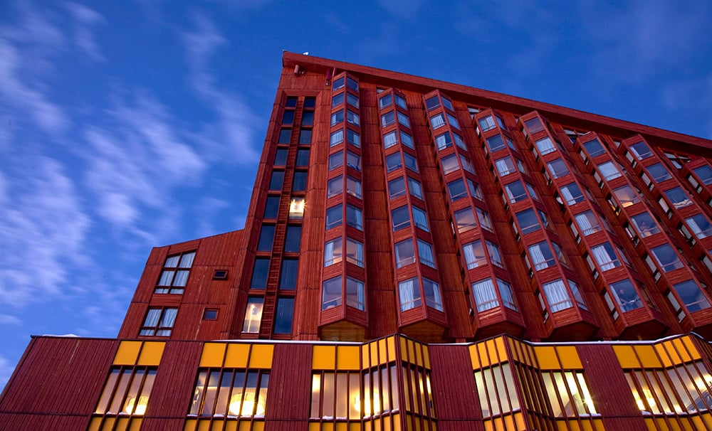 A fachada do Hotel Puerta del Sol. Foto do site oficial Valle Nevado.