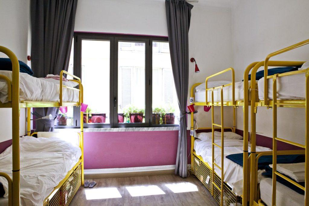 Quarto compartilhado com até 8 camas no Hostel Ostello Bello