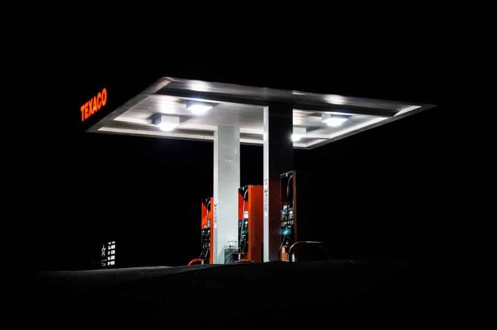 Foto de posto de combustível Texaco na região próxima a Las Vegas