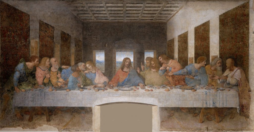 A Última Ceia de Leonardo da Vinci na na igreja de Santa Maria delle Grazie