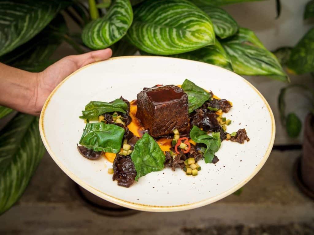 Foto de prato com carne, molho e flores sendo segurado por alguém