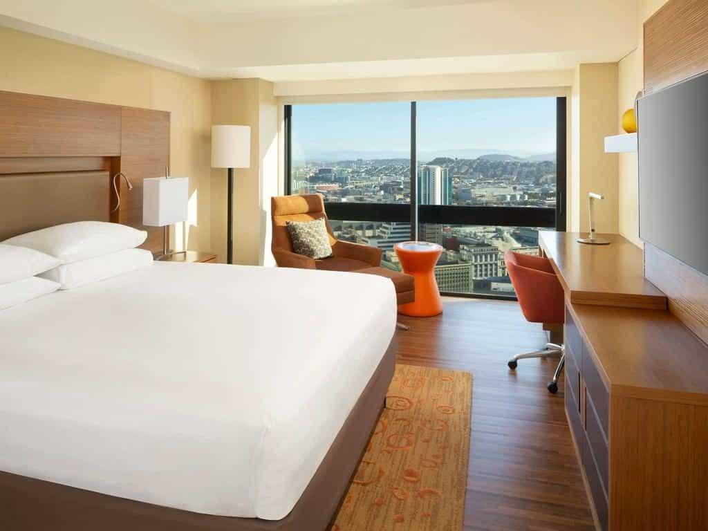Quarto no Grand Hyatt para viajantes escolherem onde ficar em San Francisco