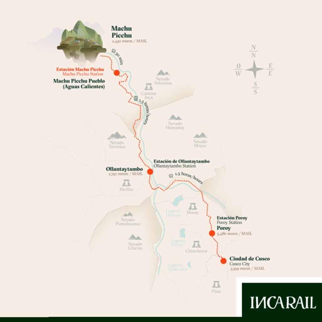 Mapa com o trajeto de trem pela Inca Rail.
