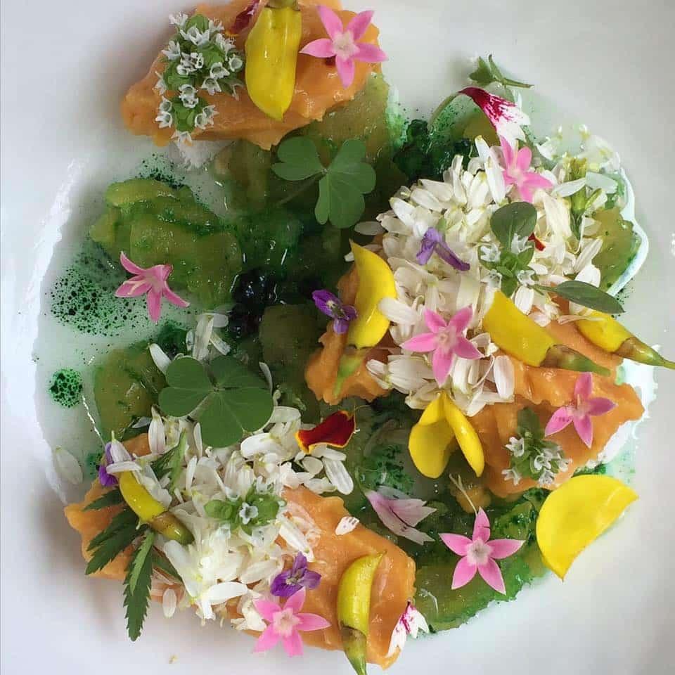 Foto de plato colorido com folhas e flores do restaurante Central