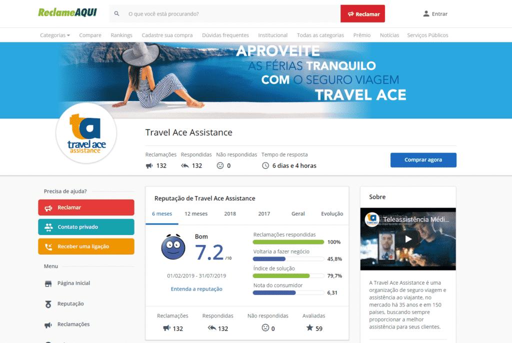 Print da tela de reclamações da empresa Travel Ace no site Reclame Aqui em agosto de 2019. Travel ace é bom.