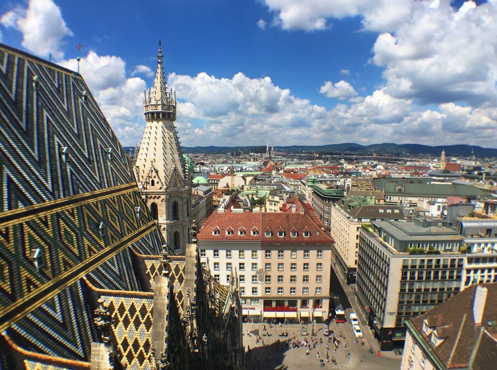 A arquitetura dos prédios e hotéis em Viena