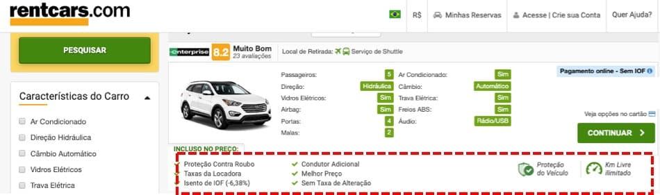 Print do site RentCars onde há informações sobre o que está incluso no aluguel do carro