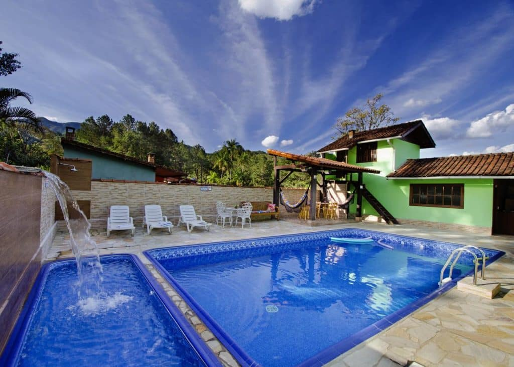 Piscina no Chalé Sonho Meu em Visconde de Mauá