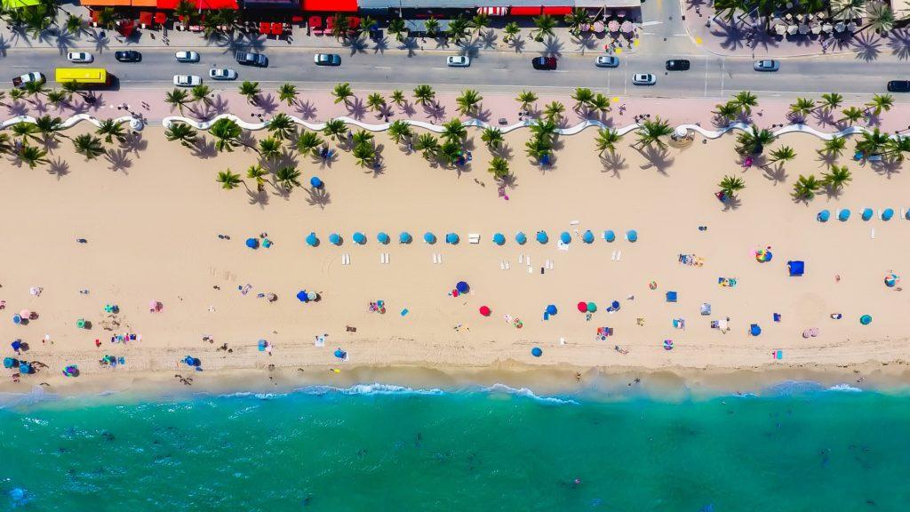 Foto aérea de praia em Fort Lauderdale, na Flórida