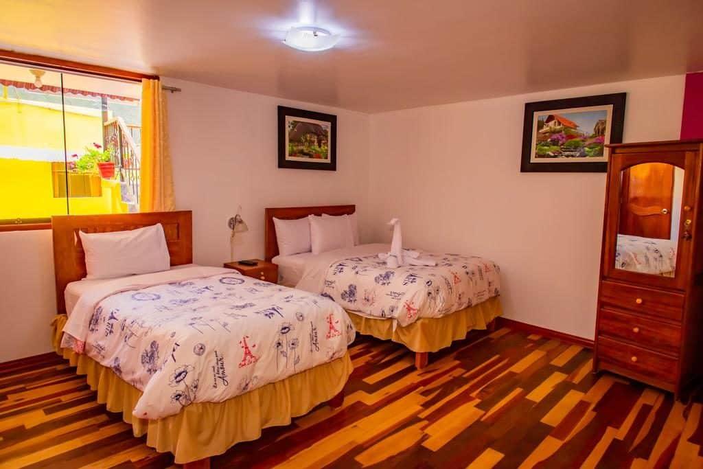 Quatro triplo no Intitambo Hotel em Ollantaytambo, opção de onde ficar em Machu Picchu