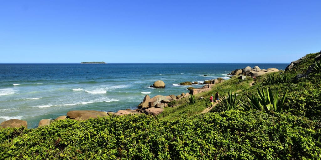 Foto da Praia Galheta, uma das várias da cidade, onde o aluguel de carros Florianópolis é indispensável para percorrer pelas principais
