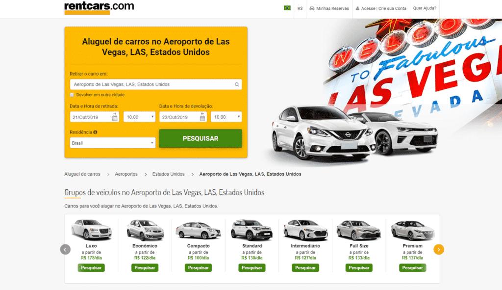 Print da página de aluguel de carro em Las Vegas do Rent Cars
