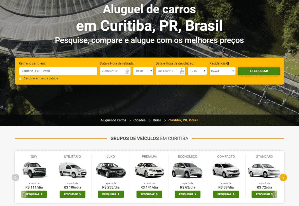 Página principal de aluguel de carros em Curitiba na RentCars