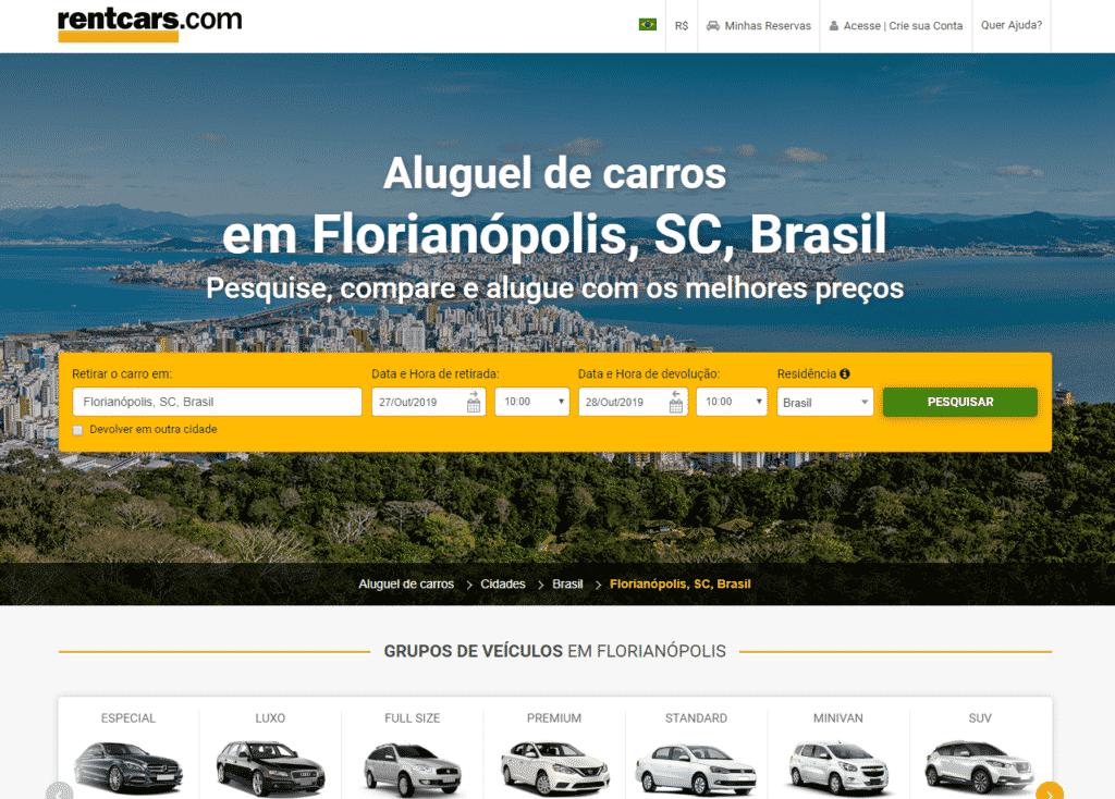 Print do site da RentCars com opções de aluguel de carro em Florianópolis, Santa Catarina