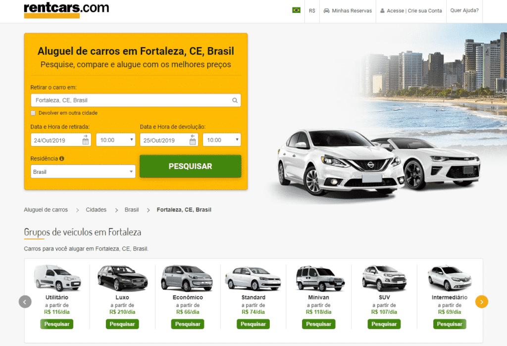 Print da página do comparador RentCars sobre aluguel de carros em Fortaleza