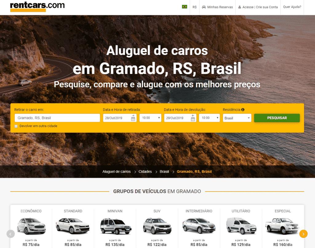 Painel da RentCars com opções de aluguel de carro em Gramado