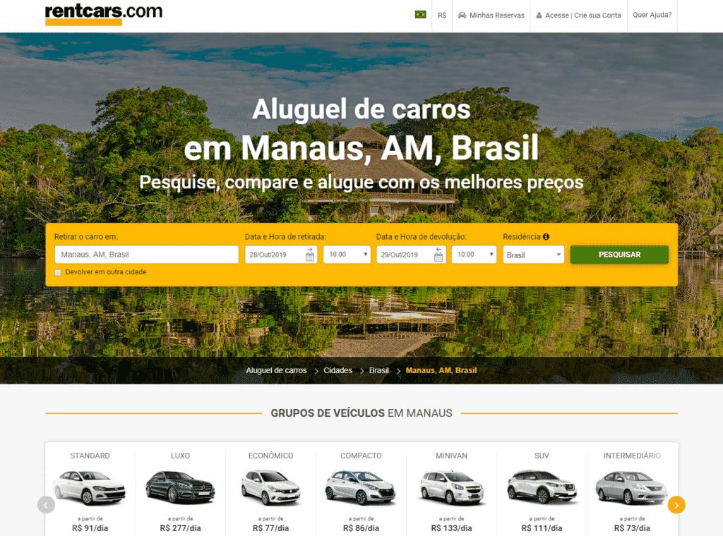 Painel RentCars de aluguel de carros Manaus