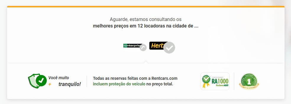 Página de carregamento das opções de aluguel de carros em Curitiba na RentCars