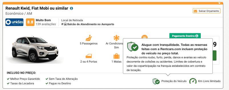 O site da RentCars te mostra se o seguro (Proteção do Veículo) está inclusa. Procure pelo símbolo acima.