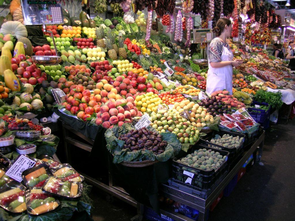 Frutas no La Boqueria - Mercado Las Ramblas
