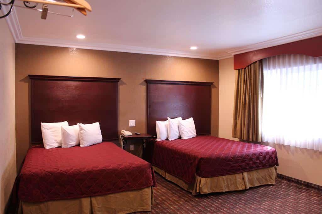 Foto de quarto duplo de carpete com camas amplas e cortina