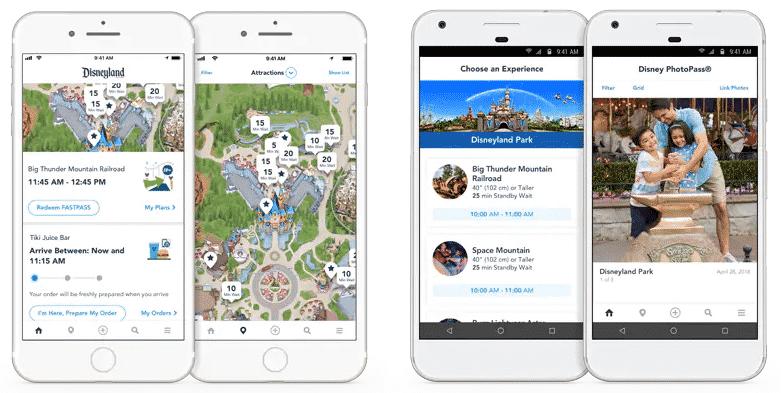 Print da interface do app Disneyland em quatro telas diferentes