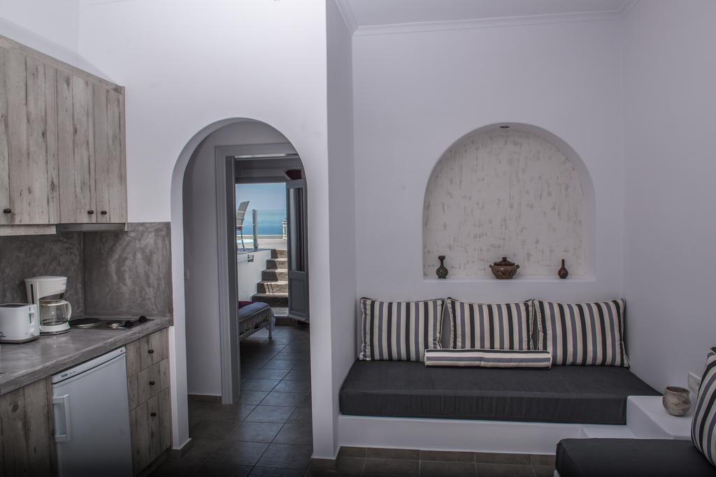 Cozinha e sala do Dreamland Ηouses - Onde ficar em Santorini