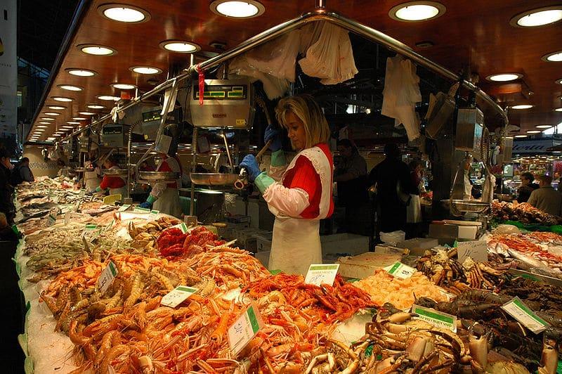 Peixes no La Boqueria - Mercado Las Ramblas