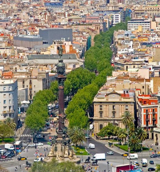 Las Ramblas em Barcelona vista de cima