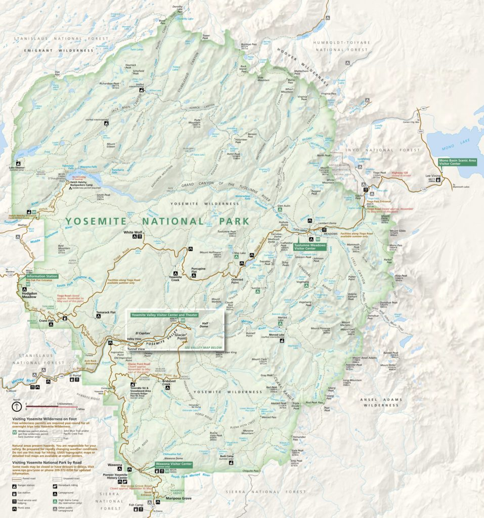 Mapa oficial do Yosemite National Park