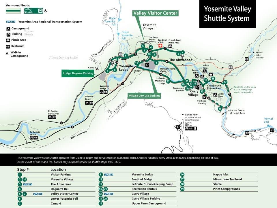 Mapa explicando logística do Yosemite Valley Shuttle System