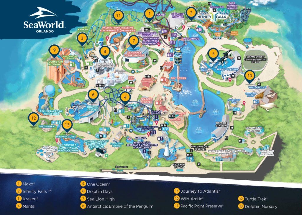 Mapa oficial do SeaWorld com as principais atrações e shows do parque