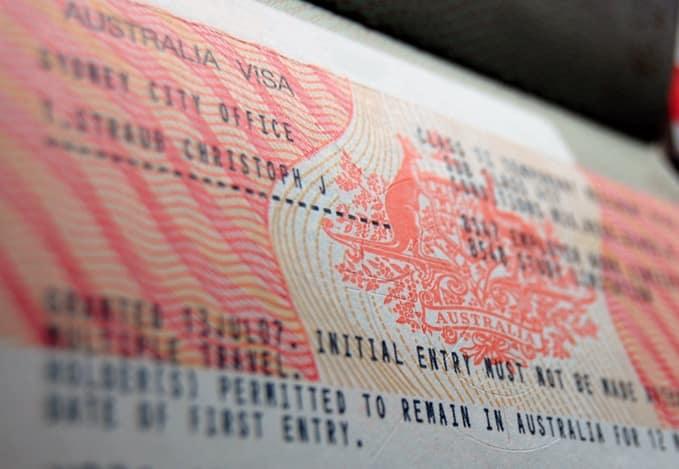 documento de visto de trabalho na austrália